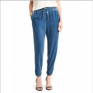 Gap dusty blue velvet jogger pants medium tall MT